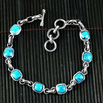 Handcrafted Mexican Alpaca Silver and Turquoise Cube Bracelet - Artisana