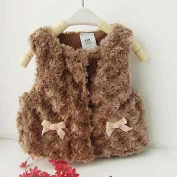 Girls Faux Fur Rosette Vest