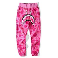 Hot ! Bape Aape Shark Trending Unisex Causal Camouflage Print Sport Pants Trousers Pink