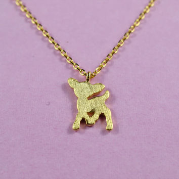 Adorable Deer Necklace, Gold Plated Brass Pendant, Delicate Chain, Everyday Wear, Perfect Gift