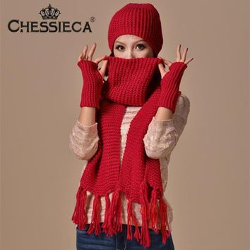 CHESSIECA Gift Knitted Woolen Winter Hats for Women Crochet Hat Fur Wool Knit Beanie Warm Cap+Scarf+Gloves Shawl Bonnet Echarpe