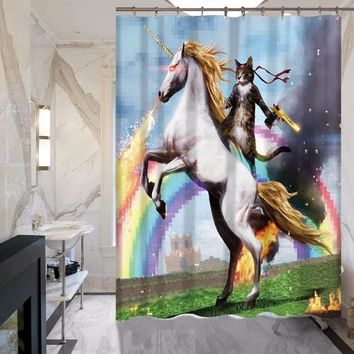 Cat and White Horse Shower Curtain - Does Not Fade - Polyester - Waterproof