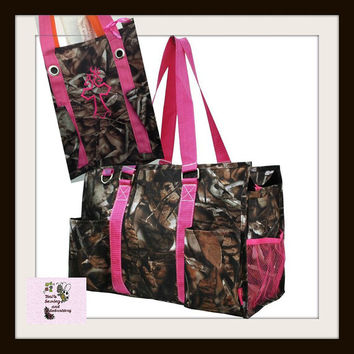 Camo with Pink Handles Organizer Utility Zippered Tote Bag