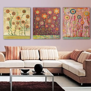 3 Panel Psychedelic Modern Abstract Colorful Oil Paintings Flower Vase Christmas Ornaments for baby Kid Room Unframed and Cheap