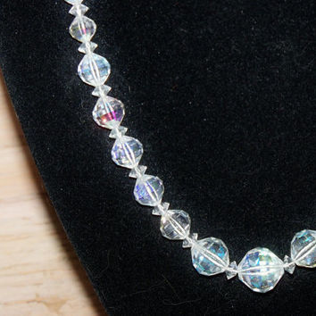 Vintage Necklace Laguna Clear Crystal Bride Wedding Jewelry Holiday Special Occasion Gift