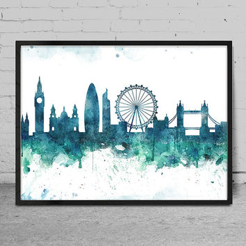 Watercolor Skyline Art print LONDON, London Art Print, Wall Art Print, Wall decor, Watercolor Painting, Watercolor Art Poster, Wall Art -x73