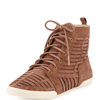 Rima Woven Suede High-Top Sneaker, Chocolate