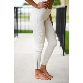 Beulah Style Moto Jeggins in Off-white