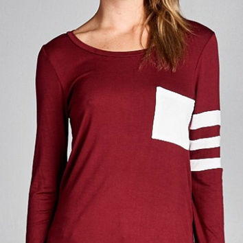 Sporty Knit Top - Burgundy