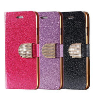 Bling Diamond Glitter Flip Case for iphone 6  4.7 / 6 Plus 5.5 Leather Girl Bag Wallet Cover