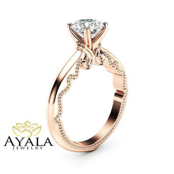 Solitaire Moissanite Engagement Ring 14K Rose Gold Moissanite Solitaire Ring Unique Alternative Engagement Ring