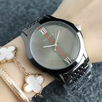 GUCCI New fashion more letter dial red and green stripe couple watch