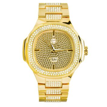 Jewelry Kay style Men's CZ Iced Out Fashion 14k Gold Plated Metal Band Hip Hop Watch WM 8403 G