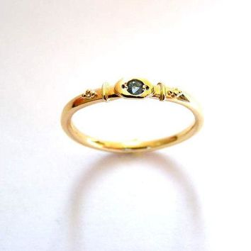 14K GOLD Blue Topaz ENGAGEMENT/PROMISE ring