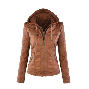 CREYOND Womens Casual Motorcycle Fleece Hoodie Faux Leather Jacket