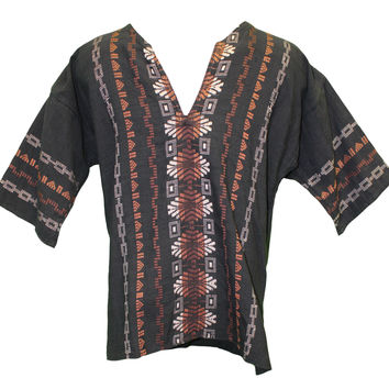 Men's Oaxacan Embroidered Shirt - Black