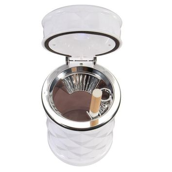 Portable Ellipse Auto Ash Cylinder Smoke Cigar Car Ashtray Storage Cup Car Travel Interior Cigarette Ash Holder LED Lamp Ashtray