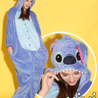 Unisex Adult Pajamas Kigurumi Cosplay Costume Animal Onesuit Sleepwear Stitch
