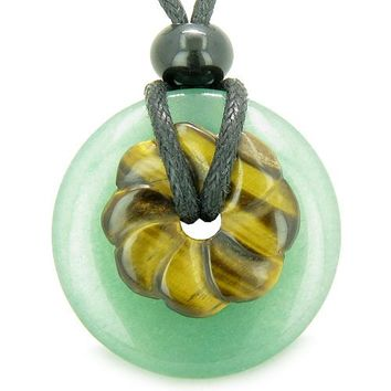 Double Lucky Amulet Magic Donut Flower Green Aventurine Tiger Eye Protection Money Pendant Necklace