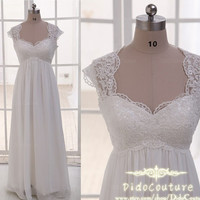 Romantic Cap Sleeves Lace Chiffon Bridal Gown,Beach Wedding Dress,Lace Bridal Dress