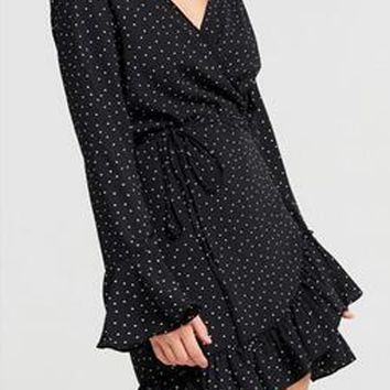 Black V Neck Wrap Dot Print Ruffle Trim Long Sleeve Dress