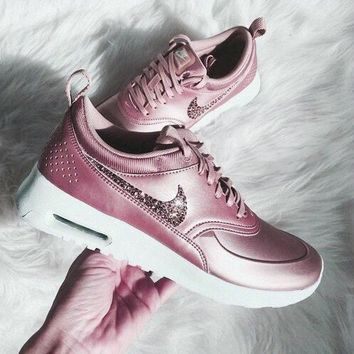 NIKE Air Max Thea Fashion Women Casual Shiny Sequin Logo Running Sport Shoes Sneakers Pink