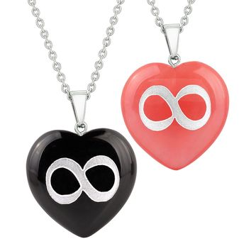 Heart Amulets Infinity Magical Unity Love Couples Best Friends Agate Simulated Quartz Necklaces