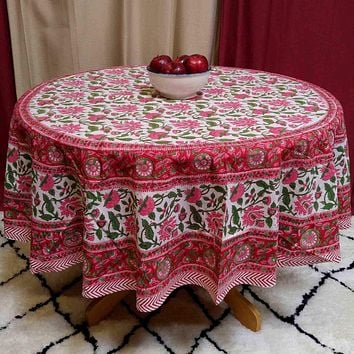Floral Vine Block Print Tablecloth Rectangular Cotton, Red, Table Linen