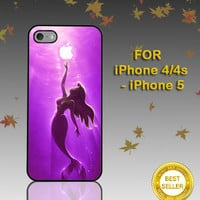 The Little Mermaid Aplle Ariel Mermaid purple - Photo on Hard Cover - For iPhone Case ( Select An Option )