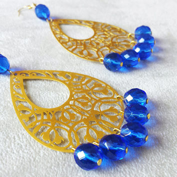 Bohemian Earrings | Gypsy Earrings | Chandelier Earrings | 16kt Gold Plated filigree | Sapphire Crystal | Free Shipping