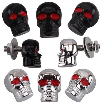 4x 6mm Skull License Plate Screws Red Eye Skull