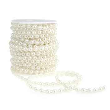 Plastic Flat Back Craft Pearl String, White, 6mm, 15-Yards