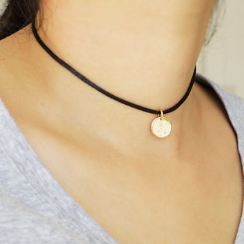 Initial Choker Necklace Personalized Black Choker Silver Gold Disc Charm Choker Satin Silk Cord Choker Necklace Numeral Choker Necklace