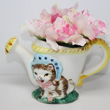Kitty Cat in Bonnet Ceramic Watering Can Planter Japan