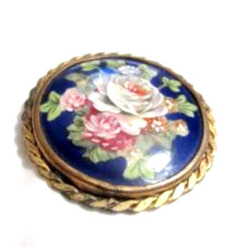 Limoges Brooch Porcelain Brooch, Floral 1920s Art Deco