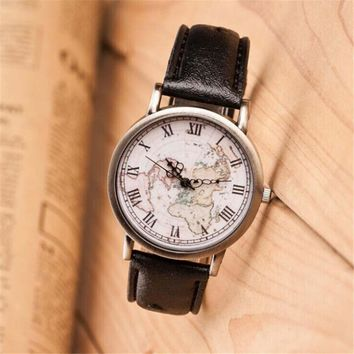 Womens Retro Hight Quality World Map Leather Strap Watch Best Christmas Gift 417