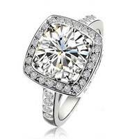 Yours Gorgeous Swarovski Element Crystal 18k White Gold Plated 1.5ct Emulational Diamond Ring (7)