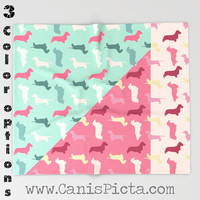 "Dachshund Pattern Puppy Dog 51""x60"" Throw Blanket Cozy Soft Pink Cream Pastel Blue Tan Light Weenie Doxie Wire Long Smooth Wiener Coat"