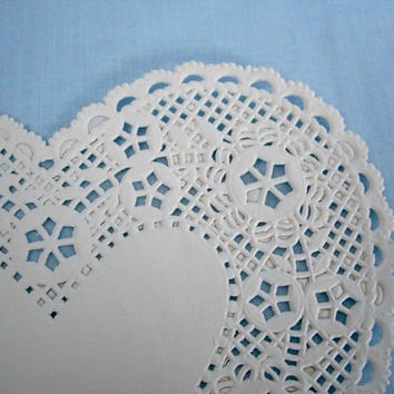 "Vintage Red and White Paper ""Heart""  Doilies"