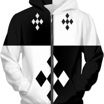 Black and white Harlequin style pattern, unisex fit hoodie design, two colors