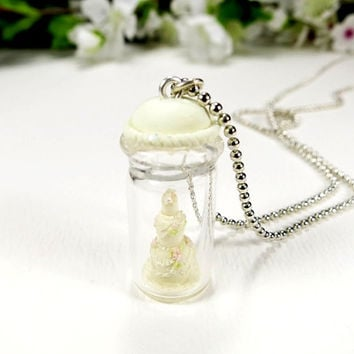 Miniature Wedding Cake Charm Bottle Keepsake Cake Gift Miniature Art Cake Clay Wedding Decor Tiered Cake Micro Miniature Clay Food