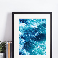Ocean Waves Print, Sea Photography, Ocean Water Wall Art, Large Poster, Beach Decor, Printable Download, Modern Coastal Decor, Blue Wall Art