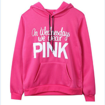 On Wednesdays We Wear Pink Womens Cotton Fleece Letter Print Hooded Sweatshirts Casual Hot Pink Hoodie Jumper