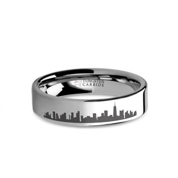 Chicago City Skyline Cityscape Laser Engraved Tungsten Ring