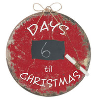 Nostalgic Vintage Chalkboard Ornament - Countdown Days Until Christmas - 8-in