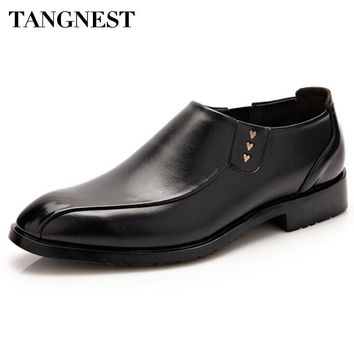 Tangnest Men Business Shoes Men Fashion Round Toe Loafers Male Patent Leather Slip-on Flats Man Wedding Shoes Brown Black XMP689
