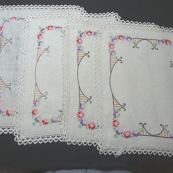 1950s Vintage Set of 4, Hand Embroidered Linen Dresser or Table Doilies in Ivory Trellis Flower Design, Hand Made Lace Trim, Vintage Linens