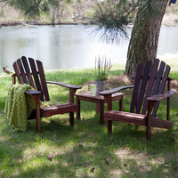 3 Piece Patio Furniture Set - 2 Adirondack Chairs & Side Table