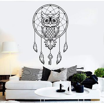 Vinyl Wall Decal Dreamcatcher Owl Dreams Bedroom Art Stickers Unique Gift (ig3725)