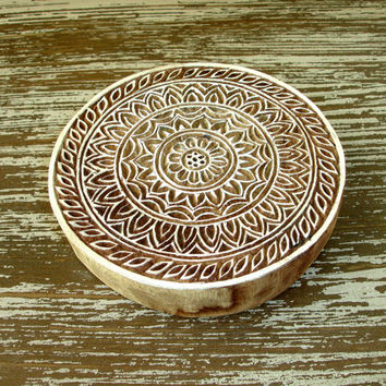 Flower Stamp, Indian Printing Block, Hand Carved Wood Stamp, Large Round Wooden Circle Stamp for Ceramics Clay Textiles Pottery, India Decor